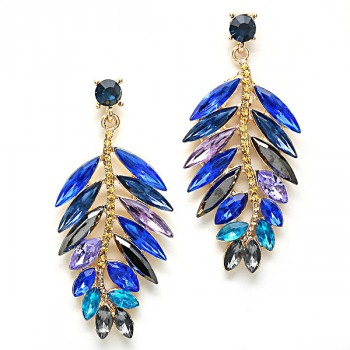 Multi-colored Blue Curved Leaf Gemstone Earrings